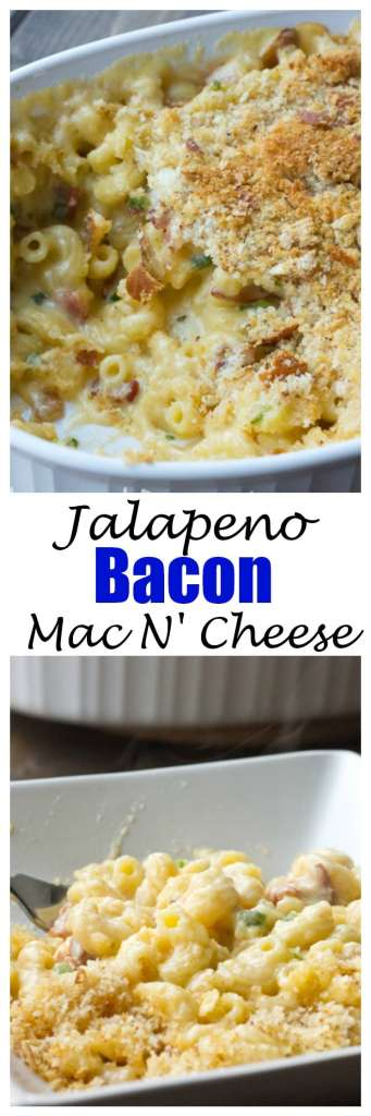 Jalapeno Bacon Mac N' Cheese - Creamy comfort food at its best. Mac n' Cheese with spicy jalapenos and smokey bacon. Delicious and comforting!