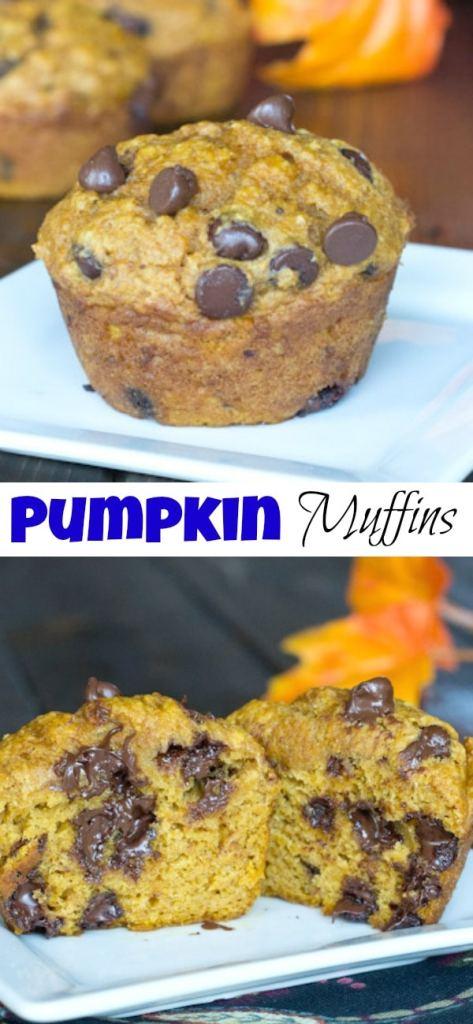 pumpkin chocolate chip muffins on a plate