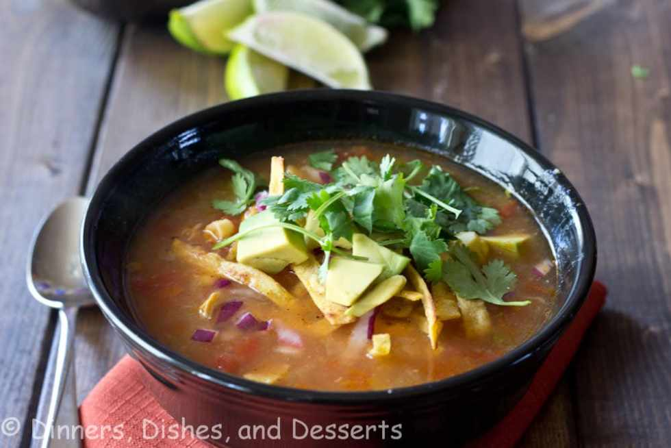 A bowl of soup, with Tortilla soup and Slow cooker