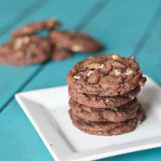 mint chocolate pudding cookies on a plate
