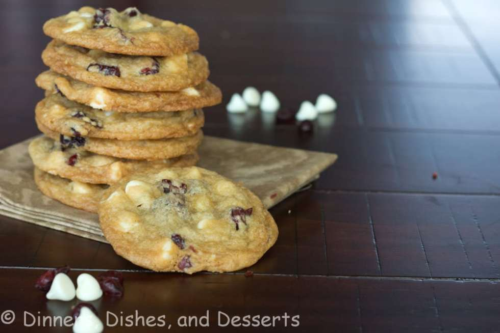 white chocolate cranberry cookies on a plate