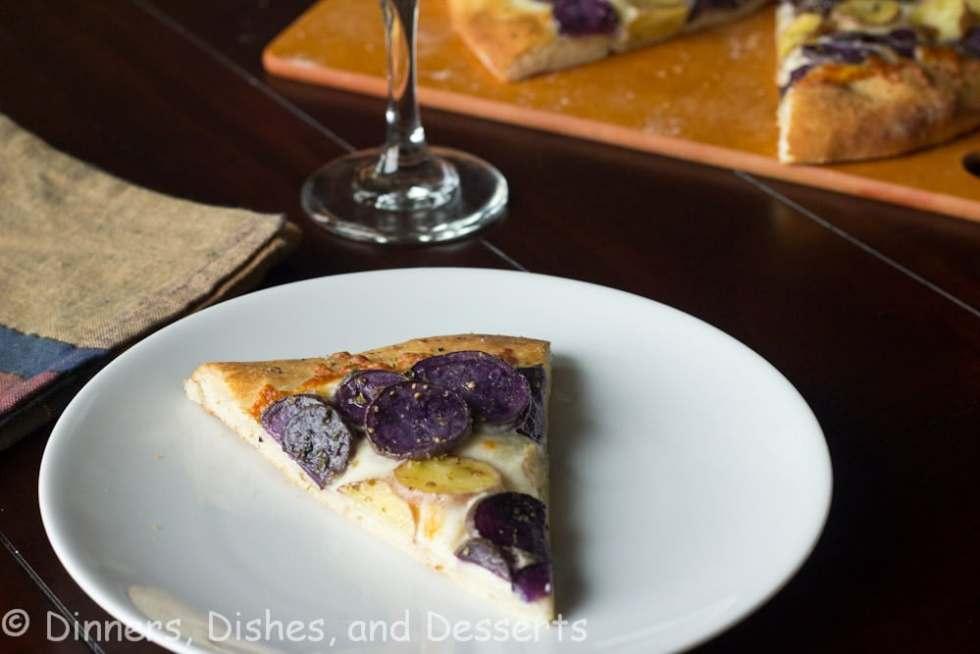 purple potato pizza on a plate