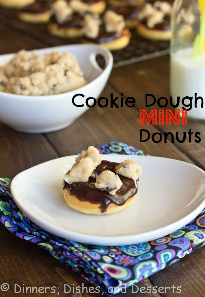 cookie dough mini donuts on a plate