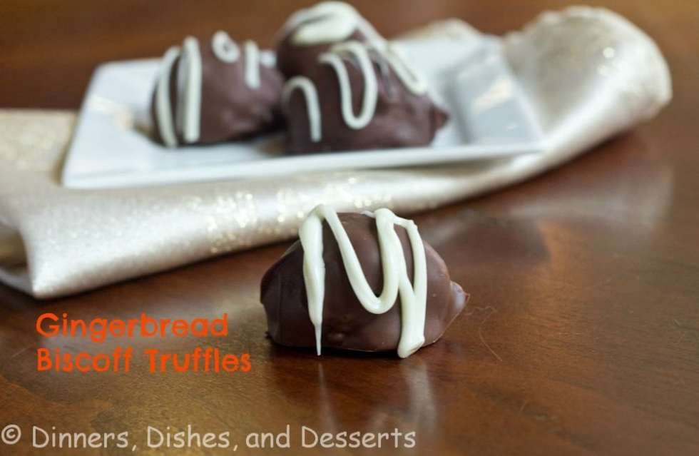 Decadant Truffles with Gingerbread Cookies and Biscoff, then dipped in chocolate! Great addition to any Holiday cookie tray.