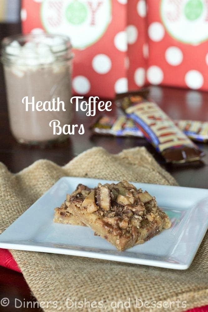 Heath Toffee Bars - these English Toffee Bars have an almost brown sugar shortbread crust topped with crushed toffee and pecans for a delicious holiday treat!