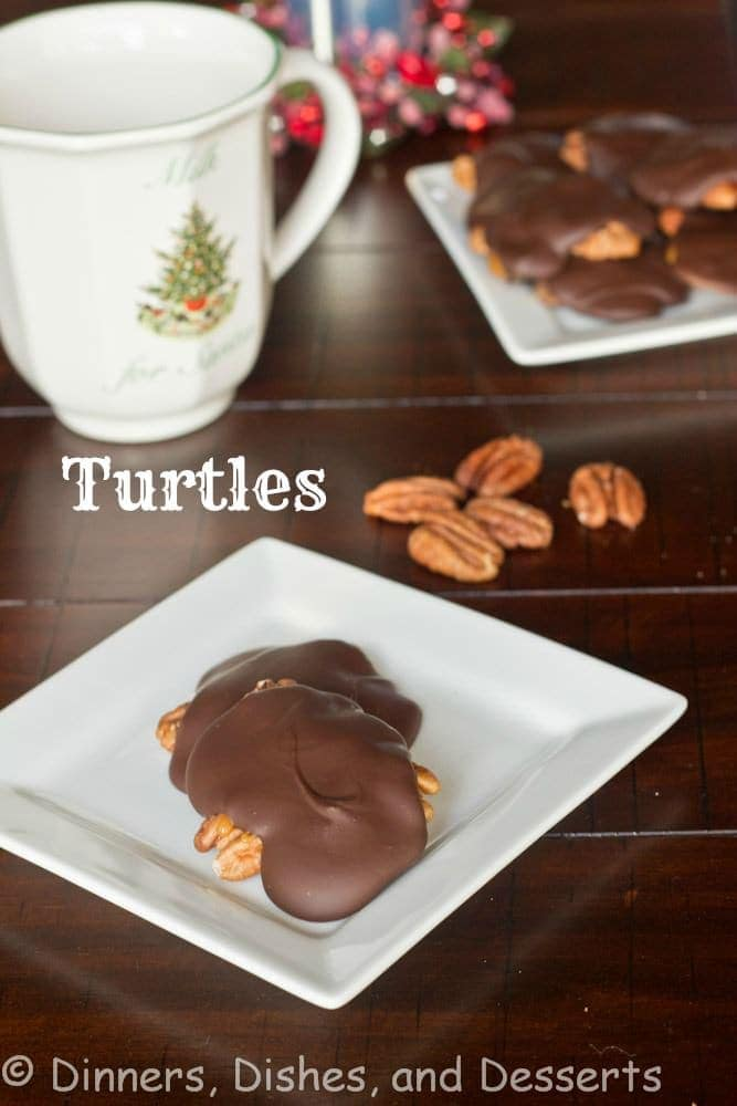 Turtles - a homemade candy of gooey caramel, pecans and chocolate