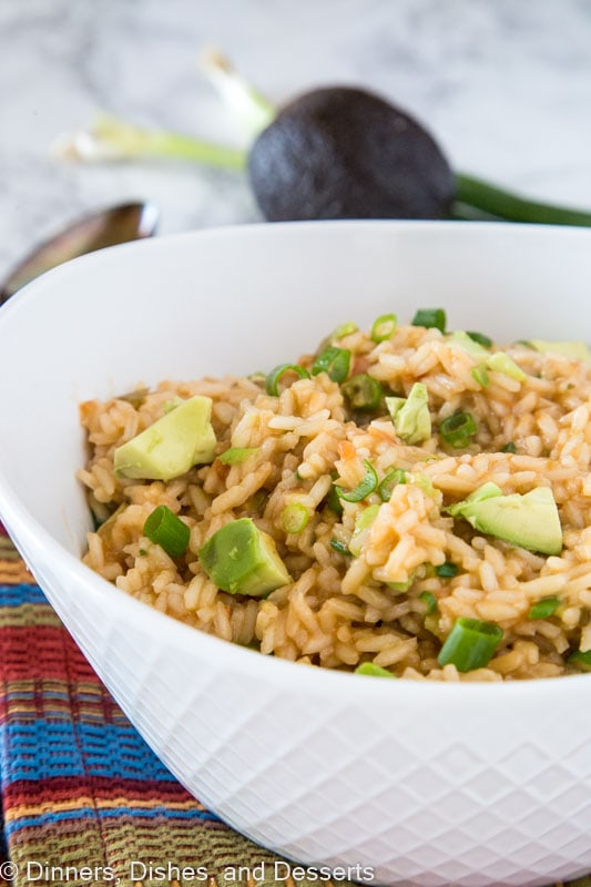 a bowl of mexican rice and avocado