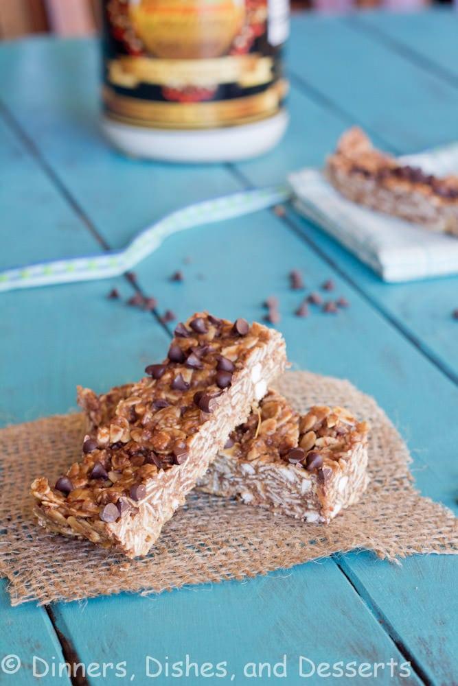 chocolate peanut butter granola bars on a napkin