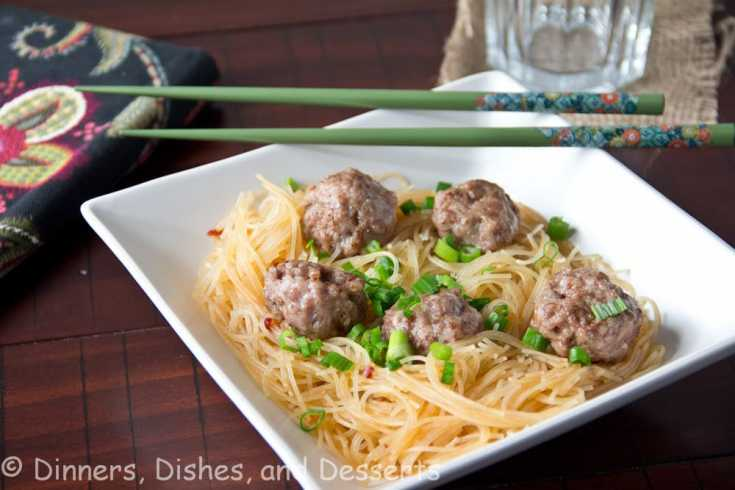 Asian Meatballs with Spicy Rice Noodles