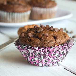 Banana Chocolate Chip Muffins - healthier banana muffins made with whole wheat flour and honey. Tender, moist, and actually pretty good for you!