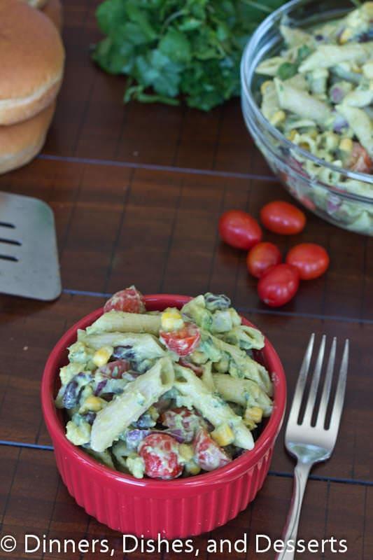 creamy avocado pasta salad in a bowl