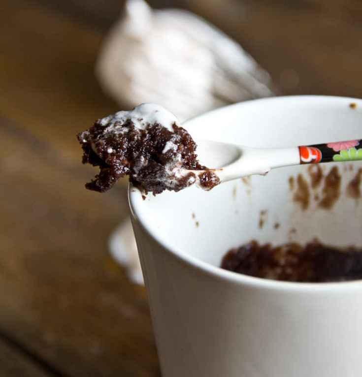 Chocolate Mug Cake with Cherry Whipped Cream