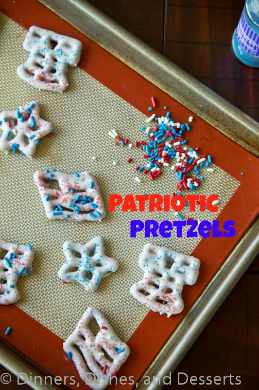 patriotic pretzels on a pan