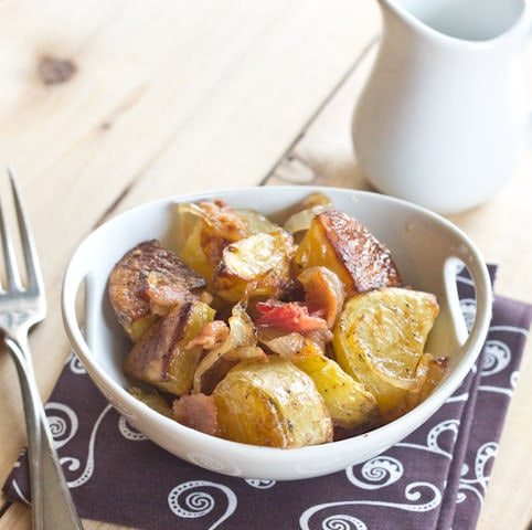 Roasted Potato Salad with Caramelized Onion and Bacon