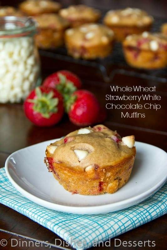 Whole Wheat Strawberry White Chocolate Chip Muffins