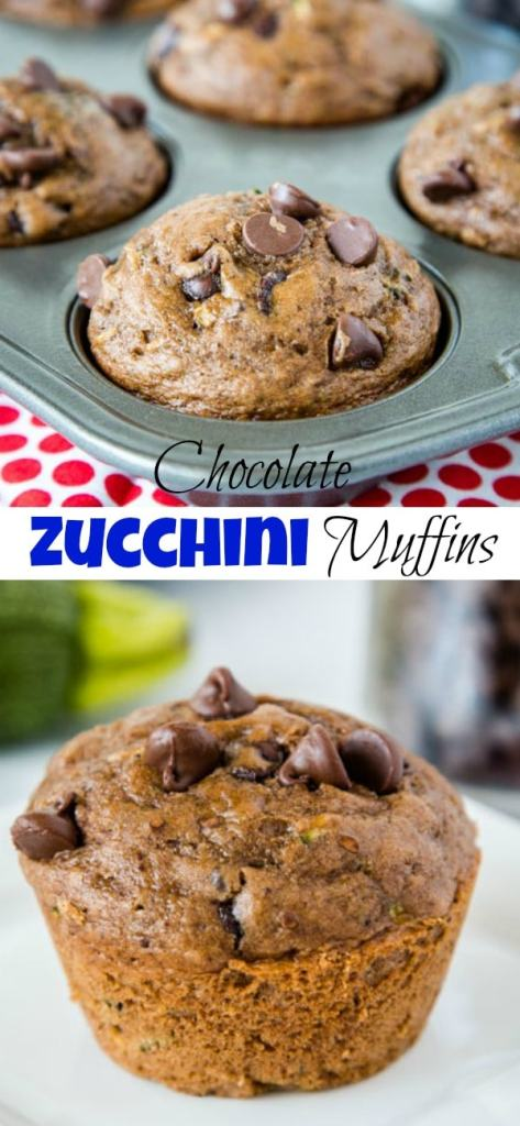Chocolate Zucchini Muffins - Moist and tender chocolate muffins filled with zucchini and chocolate chips. Great way to get more veggies into your family without them knowing!
