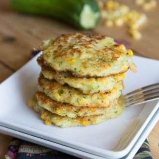 zucchini corn fritters on a plate