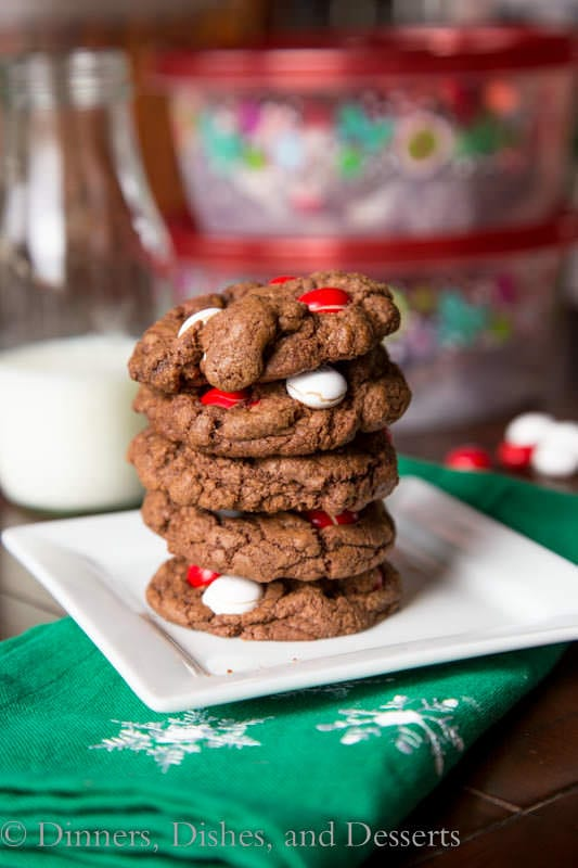 white chocolate peppermint cookies on a plate