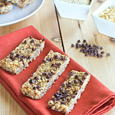 No Bake Chewy Granola Bars on red napkin