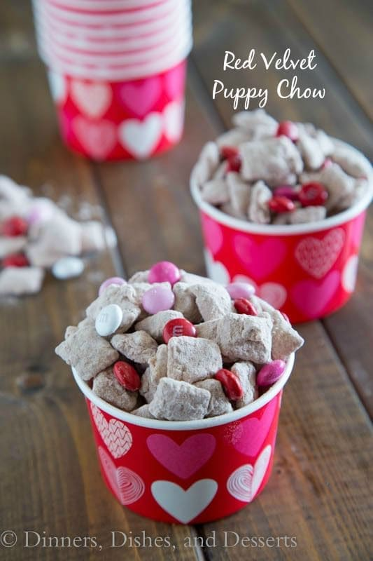 red velvet puppy chow in a cup