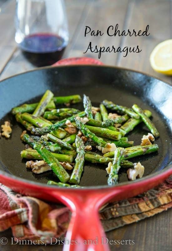 Pan Charred Asparagus with Lemon and Walnuts   Dinners, Dishes, & Desserts