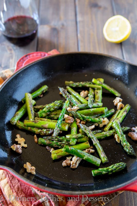 Pan Charred Asparagus with Toasted Walnuts | Dinners, Dishes, and Desserts