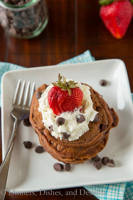 Brownie Batter Pancakes from Dinners, Dishes, and Desserts