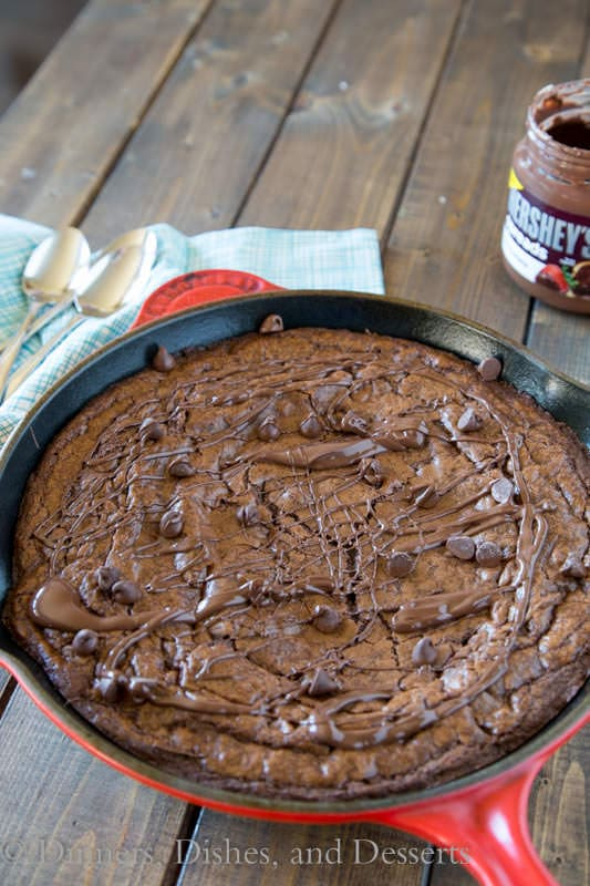 Triple Chocolate Brownie Skillet - rich, chocolatey brownies baked in a cast iron skillet. 3 types of chocolate for extra deliciousness!