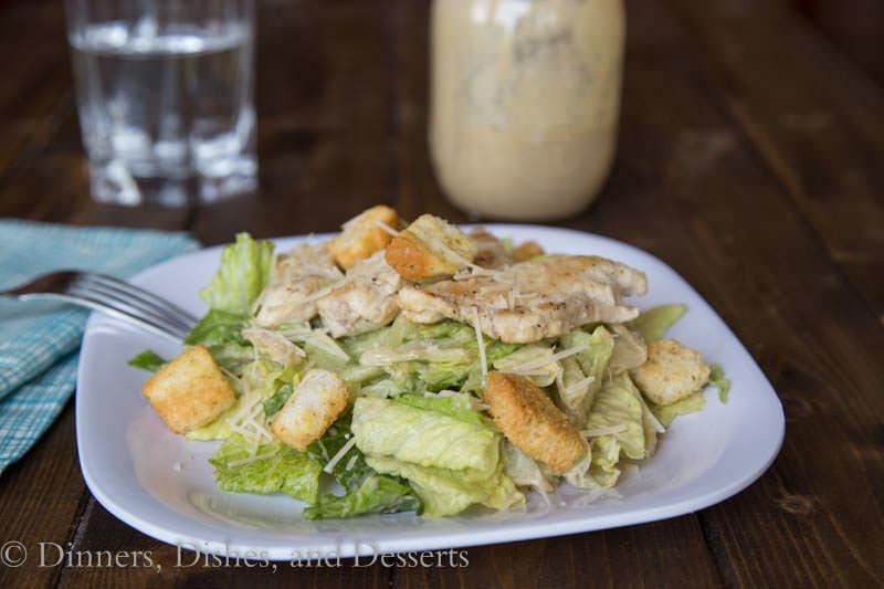 chicken caeser salad on a plate