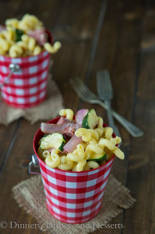 Pasta Salad with Summer Sausage and Grilled Veggies - perfect for picnics!