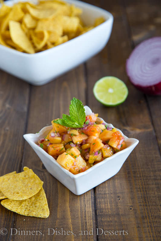 Peach Salsa - great as a dip over on top of grilled chicken, pork chops, or fish