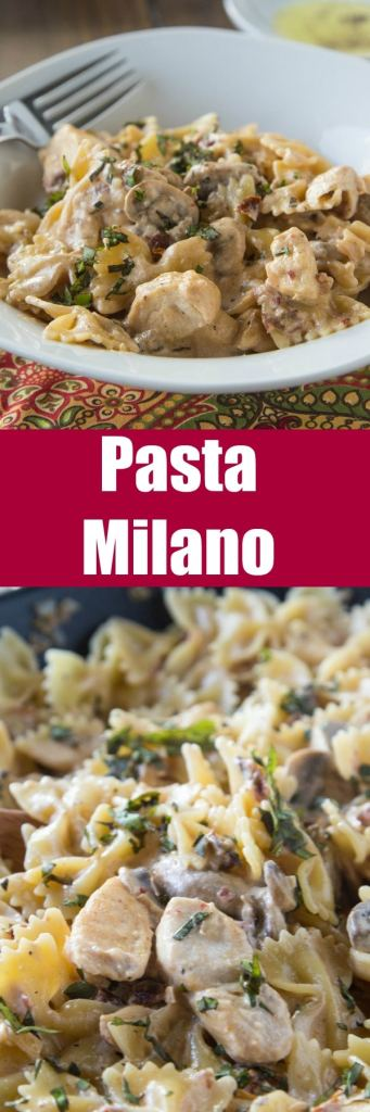 Pasta Milano Macaroni Grill Copycat - A homemade version of Macaroni Grill's Pasta Milano. A creamy garlic and sundried tomato sauce, with chicken and mushrooms, over bowtie pasta