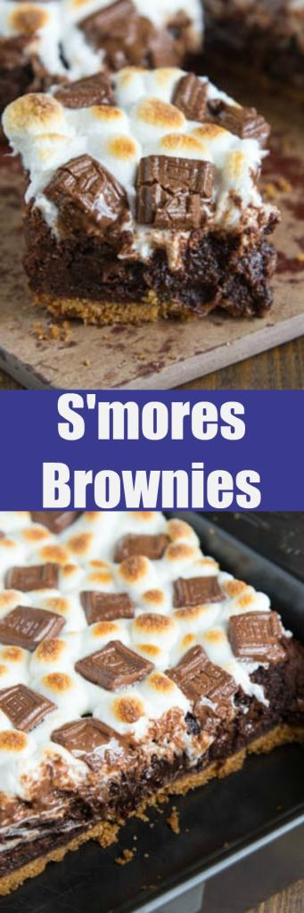 S'mores Brownies - Rich, fudgy homemade brownies on a graham cracker crust topped with toasted marshmallows and bits of chocolate!