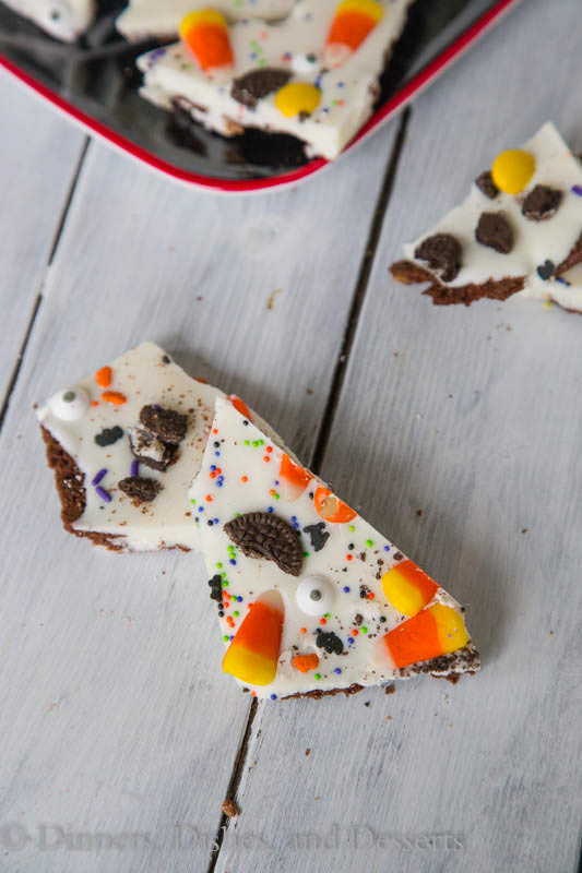 Brownie Brittle Halloween Bark - Brownie Brittle adds a chocolatey crunch to a fun Halloween treat