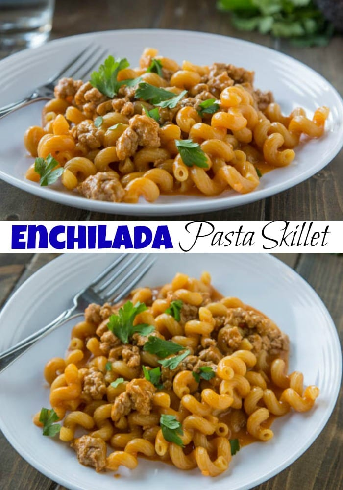 Enchilada Pasta Skillet is a homemade version of Hamburger Helper with a Mexican twist!  Dinner is ready in 20 minutes, so it is perfect for any night of the week.