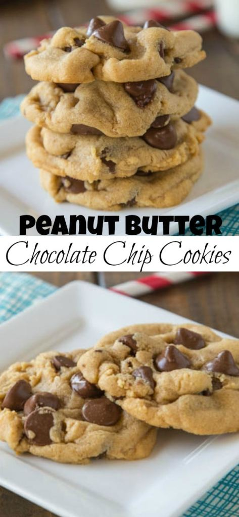 Super soft and thick peanut butter chocolate chip cookies