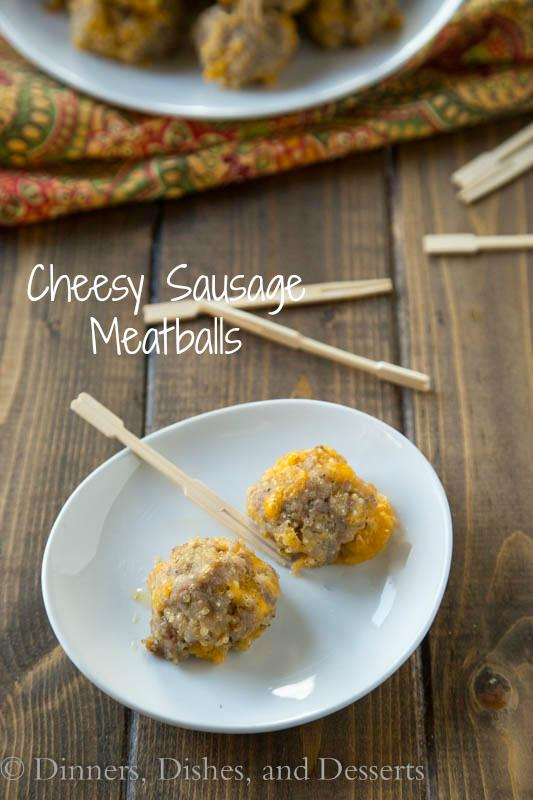 Cheesy Sausage Meatballs - A classic comfort food appetizer with a healthy twist. Quinoa helps make these sausage balls healthier, without losing any great flavor.