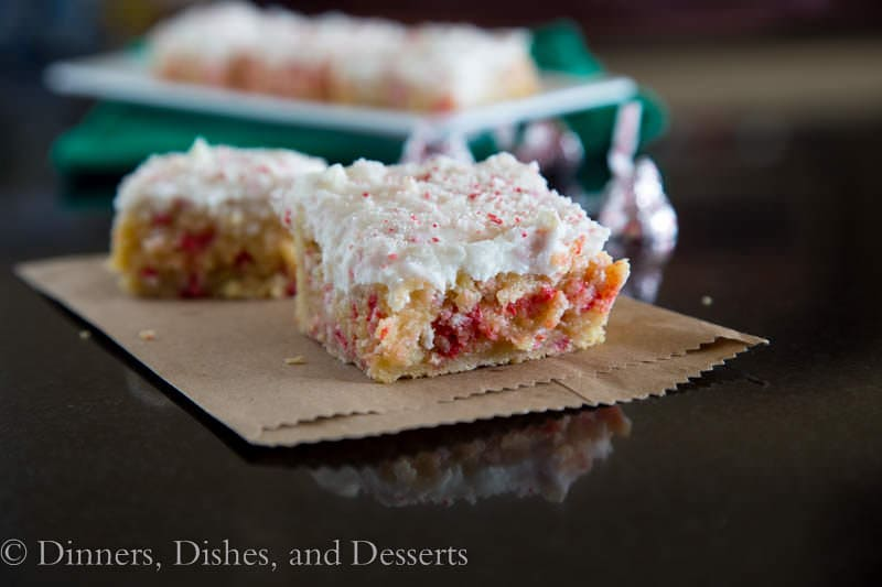 Peppermint Sugar Cookie Bars {Dinners, Dishes, and Desserts}