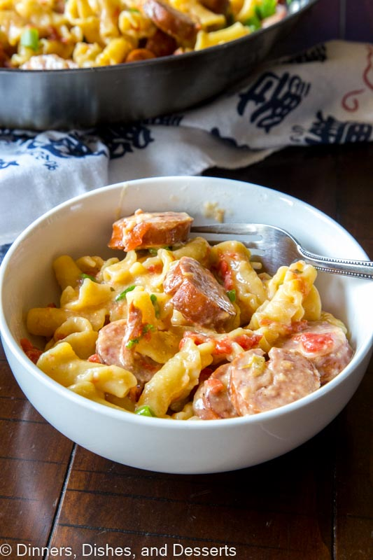 Sausage Pasta Skillet is a quick and easy one pot meal the whole family will love. Creamy, cheesy, sausage pasta dinner.