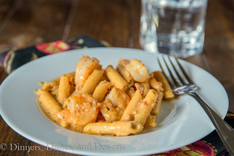 Creamy Sun-dried Tomato Shrimp Pasta {Dinners, Dishes, and Desserts}