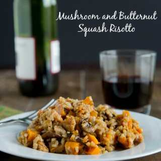 Mushroom and Butternut Squash Risotto - use a pressure cooker to speed things up! Roasted butternut squash and mushrooms make a perfect comforting meal.