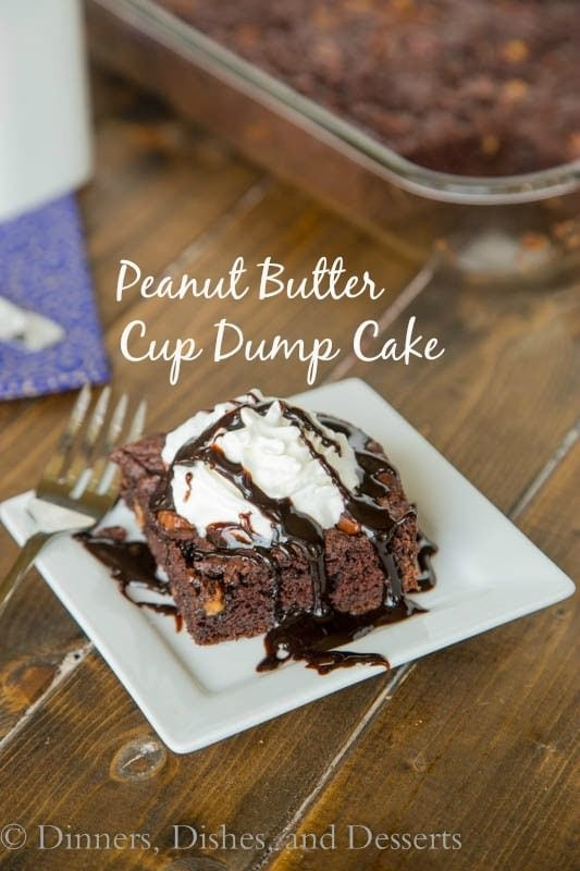 Peanut Butter Cup Dump Cake - Just 4 ingredients come together to make a rich, fudgy, chocolate-y cake studded with lots of peanut butter cups!