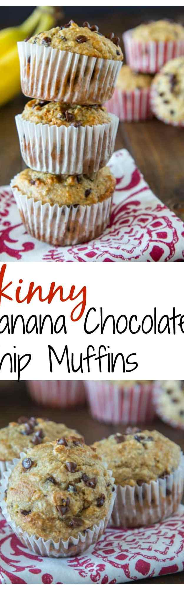close up of skinny banana chocolate chip muffins on a napkin