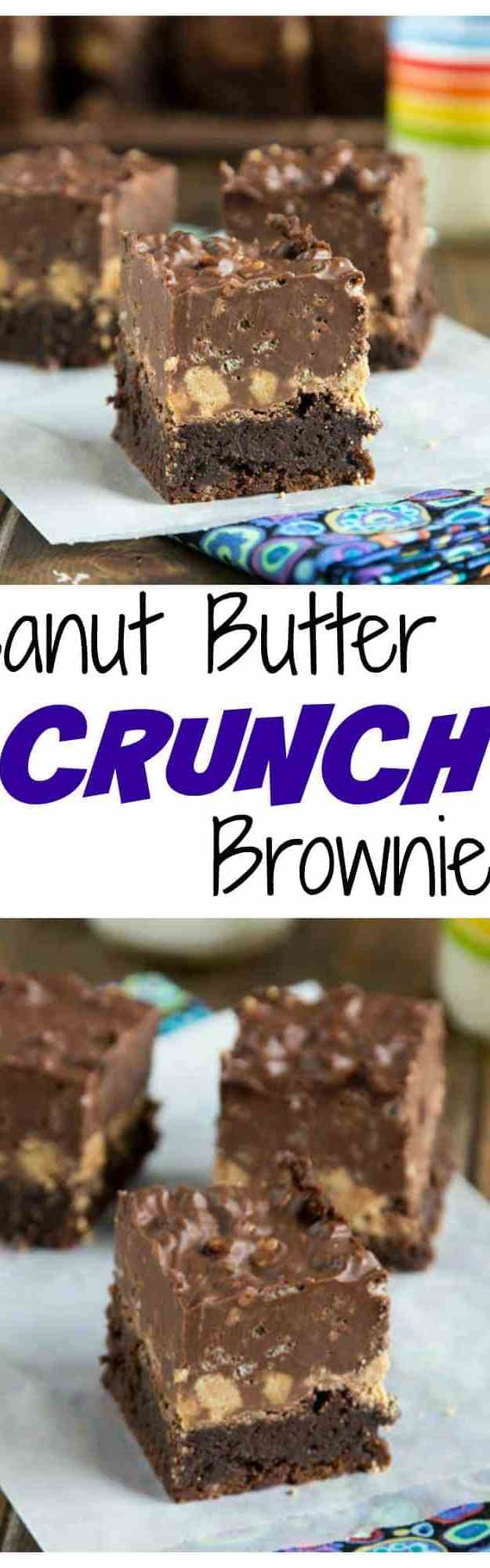 Peanut Butter Crunch Brownies -A fudgy brownie, topped with a layer of peanut butter cups, and then a layer of chocolate/peanut butter crispy fudge. Pure chocolate and peanut butter heaven!
