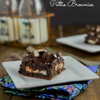 Peppermint Pattie Brownies - Rich and fudgy brownies with a layer of peppermint pattie candies, and topped with a gooey chocolate ganache.
