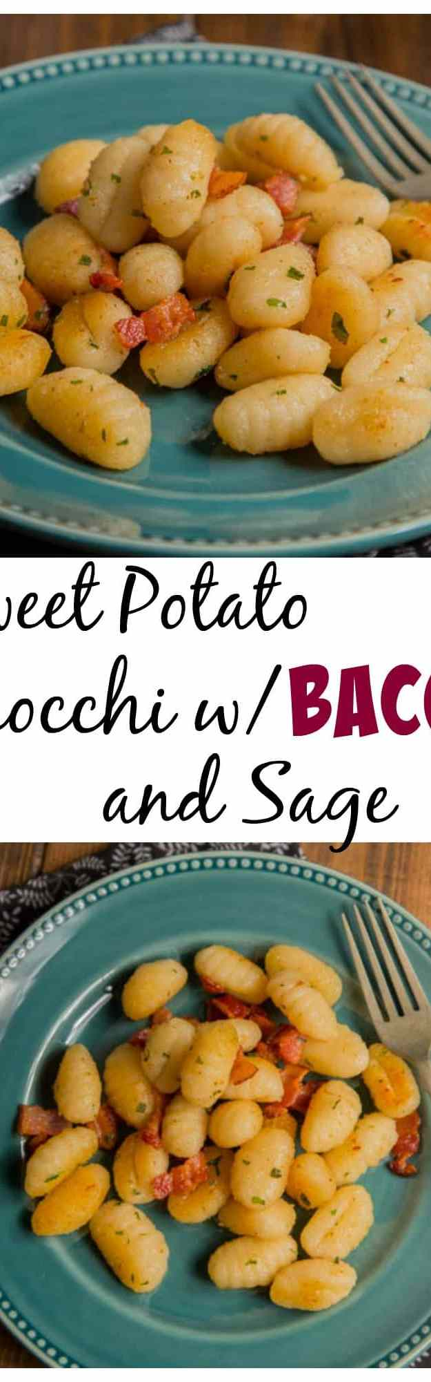 Sweet Potato Gnocchi with Bacon and Sage - Dinner is ready in just 20 minutes!  Crunchy smokey bacon, fresh sage, and Parmesan cheese with sweet potato gnocchi make a wonderful flavor combination.