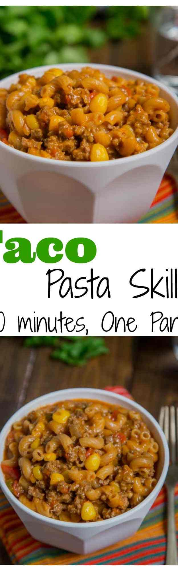 Taco Pasta Skillet - All the flavors of taco night in a one pan meal, ready in 20 minutes! Homemade version of taco Hamburger Helper, with just a few staple ingredients.
