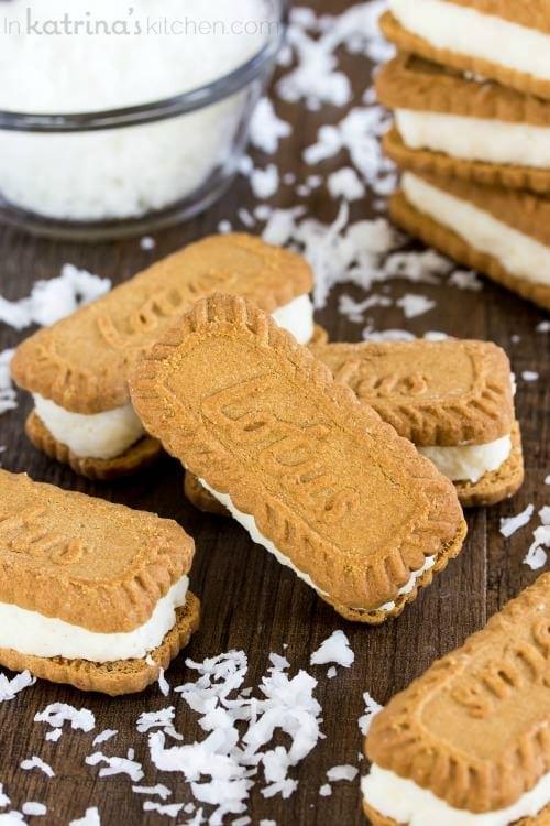Coconut Cream Filled Biscoff Cookies