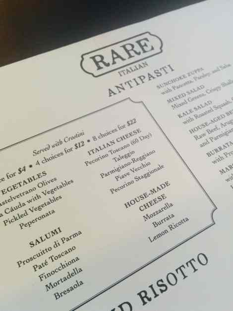 RARE Italian Fort Collins - Menu