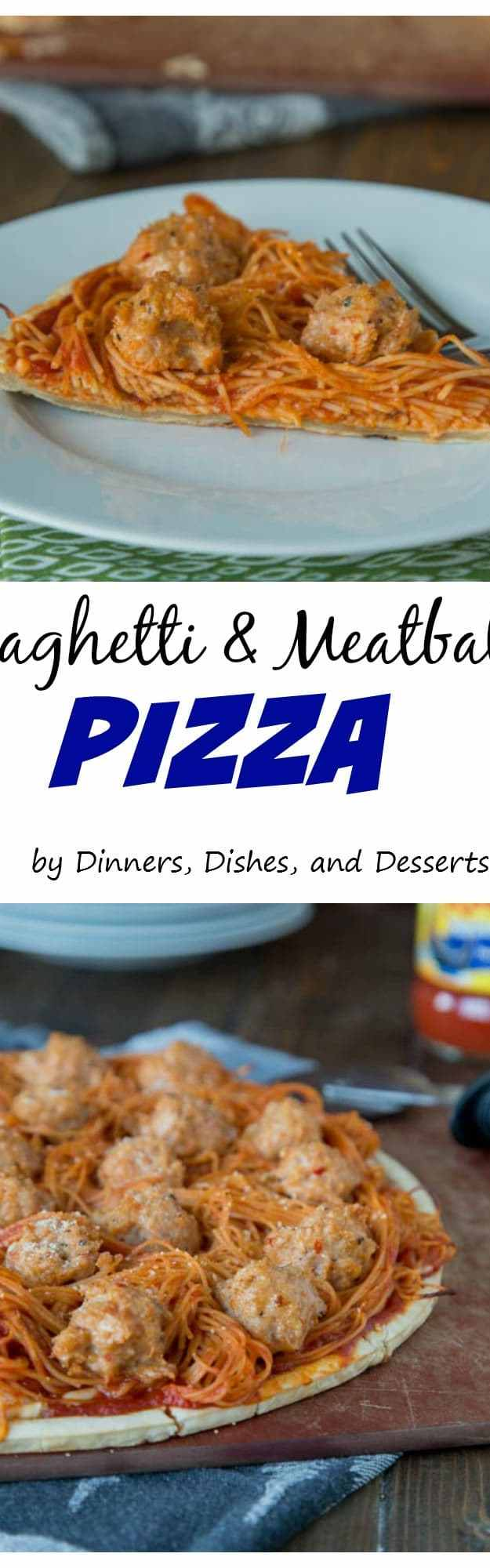 Spaghetti and Meatball Pizza - turn pizza night into something new by topping it with spaghetti and meatballs!